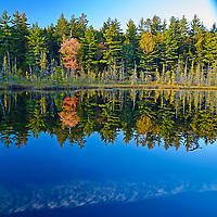 Reflection in the fall on lake in Baxter State Park Maine.