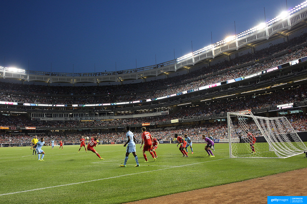 A general view of goal mouth action during the Manchester City Vs Liverpool FC Guinness International Champions Cup match at Yankee Stadium, The Bronx, New York, USA. 30th July 2014. Photo Tim Clayton