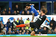Chelsea defender Cesar Azpilicueta (28) blocks the cross from Everton forward Theo Walcott (11)  during the Premier League match between Everton and Chelsea at Goodison Park, Liverpool, England on 7 December 2019.