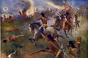 The Siege of New Ulm, Minnesota, 19 August 1862. Attack by Sioux tribesman from nearby reservation on townof 900 settlers.  After painting by Heinrich Augustus Schwabe (1843-1916). Dakota War  Native American Battle USA