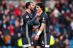 Caglar Soyuncu and Christian Fuchs of Leicester City cut dejected figures- Mandatory by-line: Robbie Stephenson/JMP - 19/01/2020 - FOOTBALL - Turf Moor - Burnley, England - Burnley v Leicester City - Premier League