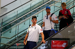 England's Alastair Cook as the team arrive at Adelaide Airport.