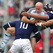 Man of the match Felipe Contepomi, Argentina, is tackled by Francois Trinh-Duc, France during the Argentina V France test match at Estadio Jose Amalfitani, Buenos Aires,  Argentina. 26th June 2010. Photo Tim Clayton...