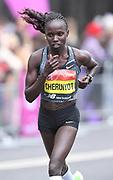 Vivian Cheruiyot (KEN) places second in the women's race in 2:20:14 at the 39th London Marathon in London, Sunday, April 28, 2019. (Jiro Mochizuki/Image of Sport)