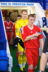 BIRKENHEAD, ENGLAND - Wednesday, September 2, 2009: Liverpool's captain Stephen Darby leads his side out for their first reserve match at Tranmere Rovers' Prenton Park ground during the FA Premiership Reserves League (Northern Division) match against Bolton Wanderers. (Photo by David Rawcliffe/Propaganda)