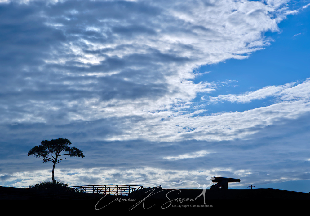 A loblolly pine tree and a Civil War cannon are silhoutted by the setting sun on Dauphin Island in Alabama Sept. 7, 2012. Established in 1821, the historic fort played a key role in the Battle of Mobile Bay. (Photo by Carmen K. Sisson/Cloudybright)