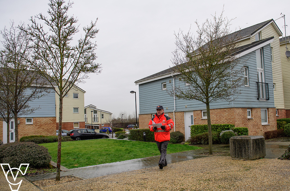 Royal Mail postman Brian Willmott, who is based in Rugby, has been hailed a hero after helping an elderly female customer following a serious fall.  Mr Willmott met with Margaret Duffy on his delivery round today for the first time since her fall.<br /> <br /> Picture: Chris Vaughan Photography<br /> Date: March 3, 2017