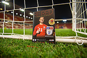 The match day programme sits behind the goal inside Oakwell Stadium prior to the EFL Sky Bet Championship match between Barnsley and Preston North End at Oakwell, Barnsley, England on 21 January 2020.
