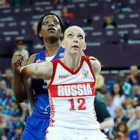 09 August 2012: Russia Irina Osipova vies for the rebound with France Endene Miyem during 81-64 Team France victory over Team Russia, during the women's basketball semi-finals, at the 02 Arena, in London, Great Britain.