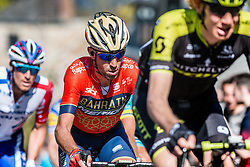 Vincenzo NIBALI of Bahrain Merida Pro Cycling Team on his Merida bike during the 2nd of 3 climbs with 29 km to go at Mur de Huy of the 2018 La Flèche Wallonne race, Huy, Belgium, 18 April 2018, Photo by Pim Nijland / PelotonPhotos.com | All photos usage must carry mandatory copyright credit (Peloton Photos | Pim Nijland)