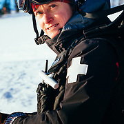 Portrait of ski patroller Jen Calder in the early morning hours.