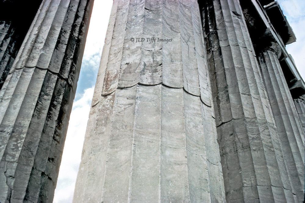 Detail of the Parthenon perstyle columns showing how the column's verticality had been disjointed from earthquake and explosion.