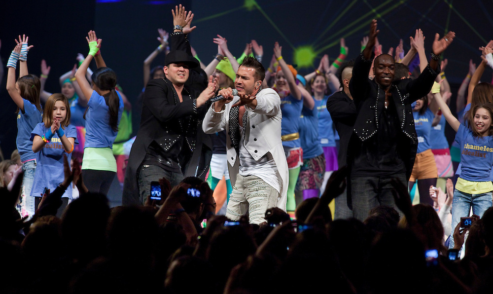 Shawn Desman performs at Free the Children's We Day celebrations in Kitchener, Ontario, February 17, 2011. We Day was started to celebrate the power of young people. <br /> The Canadian Press/GEOFF ROBINS