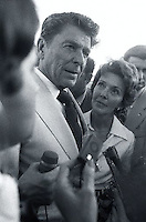 1976, Florida, USA --- Ronald and Nancy Reagan Speaking to Media --- Image by © Owen Franken/CORBIS