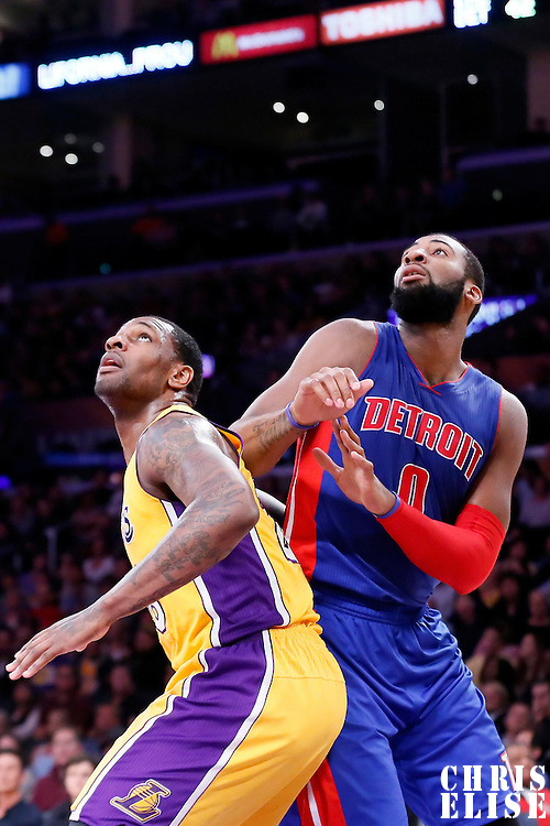 10 March 2015: Detroit Pistons center Andre Drummond (0) vies for the rebound with Los Angeles Lakers forward Tarik Black (28) during the Los Angeles Lakers 93-85 victory over the Detroit Pistons, at the Staples Center, Los Angeles, California, USA.