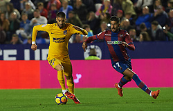 November 25, 2017 - Valencia, Valencia, Spain - Samu Garcia of Levante UD and Yannick Ferreira Carrasco of Club Atletico de Madrid in action during the La Liga match between Levante UD and Club Atletico de Madrid at Estadio Ciutat de Valencia, on november 25, 2017 in Valencia, Spain. (Credit Image: © Maria Jose Segovia/NurPhoto via ZUMA Press)