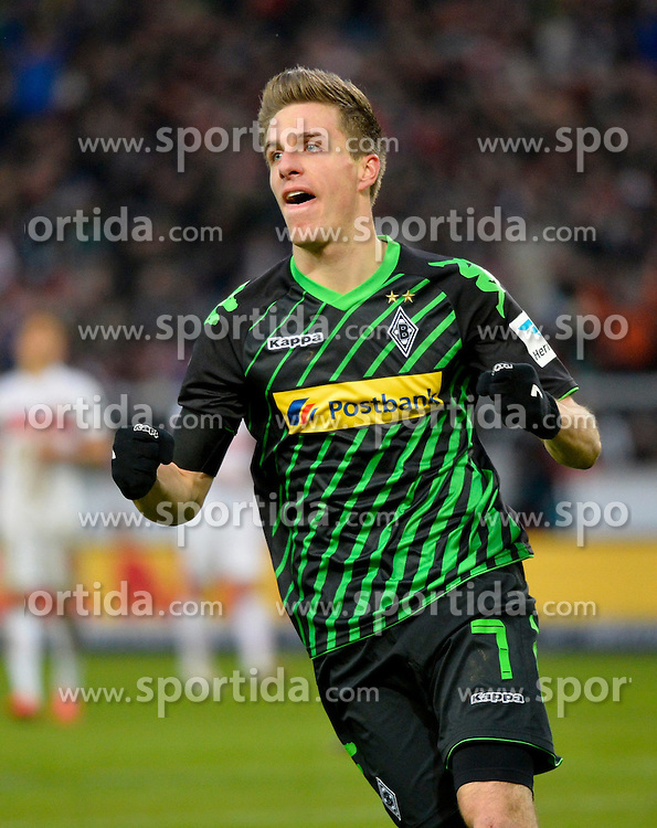 31.01.2015, Mercedes Benz Arena, Stuttgart, GER, 1. FBL, VfB Stuttgart vs Borussia Moenchengladbach, 18. Runde, im Bild <br /> TOR zm 0:1 durch Patrick Herrmann Borussia Moenchengladbach Torjubel, Jubel, Freude, Emotion // during the German Bundesliga 18th round match between VfB Stuttgart and Borussia Moenchengladbach at the Mercedes Benz Arena in Stuttgart, Germany on 2015/01/31. EXPA Pictures &copy; 2015, PhotoCredit: EXPA/ Eibner-Pressefoto/ Weber<br /> <br /> *****ATTENTION - OUT of GER*****