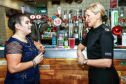 Pictured: Cara Teven with Assistant Chief Constable Gillian MacDonald at the launch of a new initiative - Girls Against Spiking. <br /> <br /> Colin Poultney   EEm Thursday 6th December 2018