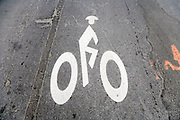 bicycle signal on an asphalt road