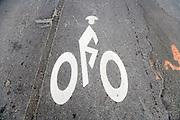 bicycle signal on an asphalt road