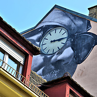 Unframed Street Mural by JR in Baden-Baden, Germany <br />
