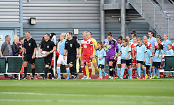 Bristol Academy Women and Manchester City Women players emerge on to the pitch at Stoke Gifford Stadium - Photo mandatory by-line: Paul Knight/JMP - Mobile: 07966 386802 - 18/07/2015 - SPORT - Football - Bristol - Stoke Gifford Stadium - Bristol Academy Women v Manchester City Women - FA Women's Super League