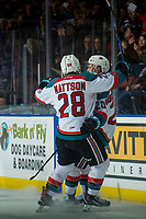 KELOWNA, CANADA - JANUARY 17: Leif Mattson #28 congratulates Conner Bruggen-Cate #20 of the Kelowna Rockets on a goal against the Lethbridge Hurricanes on January 17, 2018 at Prospera Place in Kelowna, British Columbia, Canada.  (Photo by Marissa Baecker/Shoot the Breeze)  *** Local Caption ***