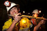 Mining engineering student, Steve Miller, holds blasting powder during training at the San Xavier Mining Laboratory Training Center, University of Arizona, Tucson, USA.