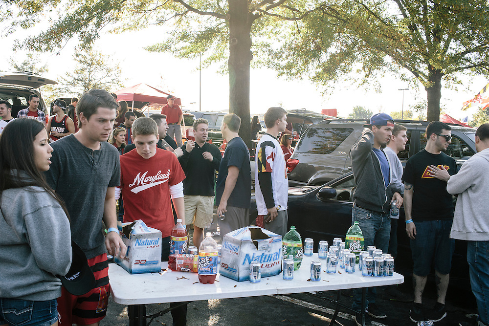 University of Maryland students and alumn tailgate outside of Capital One Field at Byrd Stadium during homecoming weekend on Oct. 18, 2014.