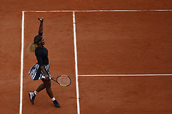 May 30, 2019 - Paris, France - Serena Williams of the US reacts during her women's singles second round match against Japan's Kurumi Nara on day five of The Roland Garros 2019 French Open tennis tournament in Paris on May 30, 2019.  (Photo by Mehdi Taamallah / Nurphoto) (Credit Image: © Mehdi Taamallah/NurPhoto via ZUMA Press)