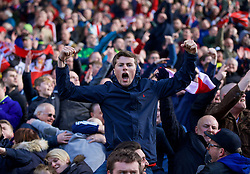 STOKE-ON-TRENT, ENGLAND - Saturday, April 30, 2016: Sunderland supporters celebrate an injury time equalising goal from a penalty kick against Stoke City during the FA Premier League match at the Britannia Stadium. (Pic by David Rawcliffe/Propaganda)