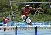 Rai Benjamin of Southern California wins the 400m hurdles in 49.84 during a collegiate dual meet against UCLA at Drake Stadium in Los Angeles, Sunday, April 29, 2018.