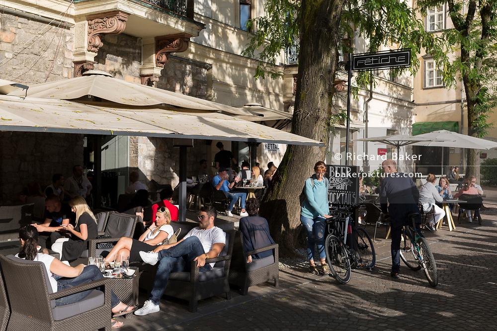 Riverside bars on Cankarjevo Nabrezje in the Slovenian capital, Ljubljana, on 25th June 2018, in Ljubljana, Slovenia.