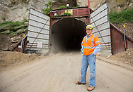 Owner Kyle Pattison outside the south entrance to the mine at Pattison Sand Company in Garnavillo, Iowa on June 5, 2013.