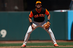 SAN FRANCISCO, CA - AUGUST 26: Evan Longoria #10 of the San Francisco Giants stands on the field during the sixth inning against the Texas Rangers at AT&T Park on August 26, 2018 in San Francisco, California. The San Francisco Giants defeated the Texas Rangers 3-1. All players across MLB will wear nicknames on their backs as well as colorful, non-traditional uniforms featuring alternate designs inspired by youth-league uniforms during Players Weekend. (Photo by Jason O. Watson/Getty Images) *** Local Caption *** Evan Longoria