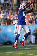 Buffalo Bills wide receiver Chris Summers (87) leaps and catches a pre game pass while warming up before the 2014 NFL Pro Football Hall of Fame preseason football game against the New York Giants on Sunday, Aug. 3, 2014 in Canton, Ohio. The Giants won the game 17-13. ©Paul Anthony Spinelli