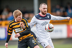 Alloa Athletic's Ryan McCord and Falkirk's Joe Chalmers.<br /> Alloa Athletic 3 v 0 Falkirk, Scottish Championship game played today at Alloa Athletic's home ground, Recreation Park.<br /> &copy; Michael Schofield.