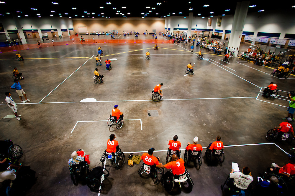 TAMPA, FL -- Veterans play a game oaf softball inside the Tampa Convention Center during the National Veterans Wheelchair Games presented by the U.S. Department of Veterans Affairs and Paralyzed Veterans of America in Tampa, Fla., this week.  (PHOTO / Chip Litherland for ESPN.com)