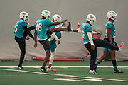 Miami Dolphins defensive players warm up prior to indoor practice during training camp at the Baptist Health Training Facility at Nova Southeastern University, Friday, August 2, 2019, in Davie, Fla. (Kim Hukari/Image of Sport)