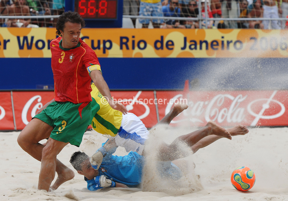 Football-FIFA Beach Soccer World Cup 2006 - Semi-final -BRA_POR -Benjamin-BRA- strike was saved buy Bruno,Gk, and Hernani-POR - Rio de Janeiro - Brazil 11/11/2006<br />
