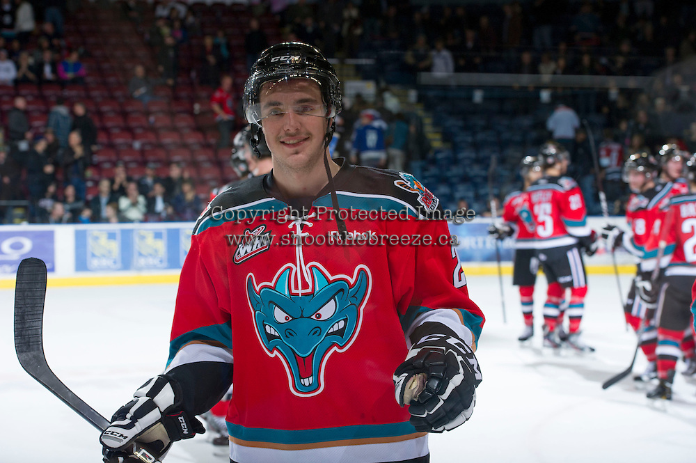 KELOWNA, CANADA - NOVEMBER 28: Jesse Lees #2 of  the Kelowna Rockets celebrates the win against the Tri City Americans at the Kelowna Rockets on November 28, 2012 at Prospera Place in Kelowna, British Columbia, Canada (Photo by Marissa Baecker/Shoot the Breeze) *** Local Caption ***