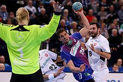 HANDBALL:  Germany 1. Bundesliga, Hamburg, 13.02.2014<br />Adrian Pfahl (HSV HandBall) - Philipp Mueller and Mikael Appelgren (MT Melsungen)<br /> copyright: pixathlon