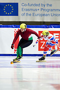 Graz, Austria - 2017 March 24: (L) Viktora Marosi from from SO Hungary (89) and (R) Ekaterina S. Zubova from from SO Russia (165) compete in Speed Skating 333 meters race while Special Olympics World Winter Games Austria 2017 at Icestadium Graz Liebenau on March 24, 2017 in Graz, Austria.<br /> <br /> Mandatory credit:<br /> Photo by &copy; Adam Nurkiewicz / Mediasport<br /> <br /> Adam Nurkiewicz declares that he has no rights to the image of people at the photographs of his authorship.<br /> <br /> Picture also available in RAW (NEF) or TIFF format on special request.<br /> <br /> Any editorial, commercial or promotional use requires written permission from the author of image.<br /> <br /> Image can be used in the press when the method of use and the signature does not hurt people on the picture.