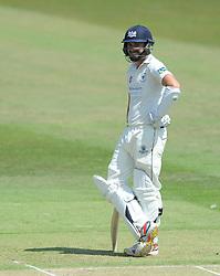 Jack Taylor of Gloucestershire smiles as he scores his career best of 156 - Photo mandatory by-line: Dougie Allward/JMP - Mobile: 07966 386802 - 09/07/2015 - SPORT - Cricket - Cheltenham - Cheltenham College - LV=County Championship 2
