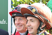 Former Champion Jockey Kieen Fallon and Jamie Mackay during the opening day of the St Leger Festival at Doncaster Racecourse, Doncaster, United Kingdom on 11 September 2019.