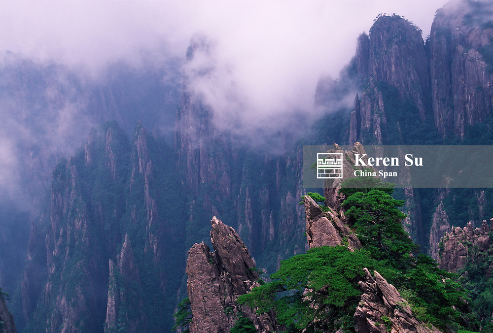 China, Anhui Province, Mount Huangshan, in mist