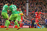 A shot from Liverpool midfielder Roberto Firmino  during the Barclays Premier League match between Liverpool and Sunderland at Anfield, Liverpool, England on 6 February 2016. Photo by Simon Davies.