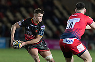 Dragons' Connor Edwards attacks the Worcester defence.<br /> <br /> Photographer Simon Latham/Replay Images<br /> <br /> Anglo-Welsh Cup Round Round 4 - Dragons v Worcester Warriors - Friday 2nd February 2018 - Rodney Parade - Newport<br /> <br /> World Copyright © Replay Images . All rights reserved. info@replayimages.co.uk - http://replayimages.co.uk