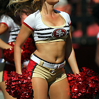 49ers cheerleader during an NFL football game between the Dallas Cowboys and the San Francisco 49ers at Candlestick Park on Sunday, Sept. 18, 2011 in San Francisco, CA.   (Photo/Alex Menendez)