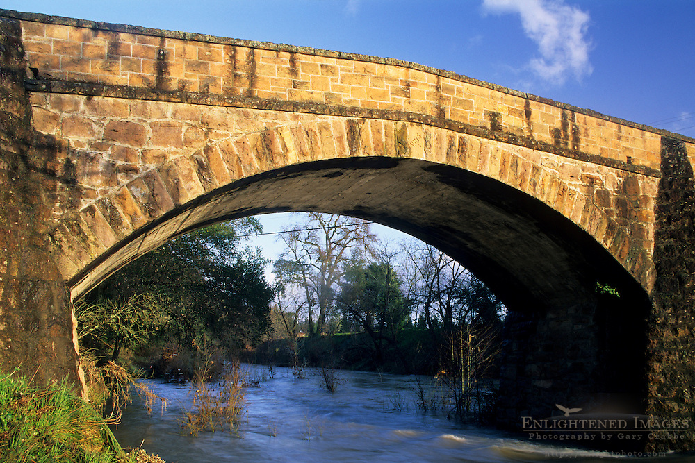 Old stone one-lane bridge over the Napa River, along the Silverado Trail Napa County, California